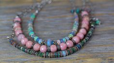 black opal necklace Ethiopian black opal bar by NadeanDesigns