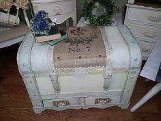 French refinished Trunk with Burlap top