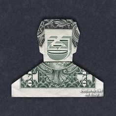 SMILEY DUDE Money Origami  Dollar Bill Cash  Man by DollarArtist