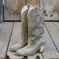 Vintage Soft Gray Cowboy Boots, Sweet Vintage Cowboy Boots