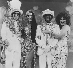 Elton John, Cher, Flip Wilson and Bette Midler in 1975.