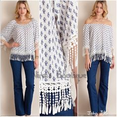 Chic trendy tops Floral print top can be worn on or off the shoulders....features fringe detailing. Price is firm unless bundled. Small bust 38 Tops