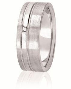 Off Center High Polished Striped Wedding Band