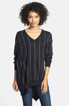Vince Camuto Pinstripe Oversize V-Neck Sweater available at #Nordstrom