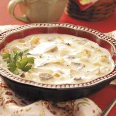 This is my all-time favorite soup!!!    Zippy Chicken Mushroom from Taste of Home!!!
