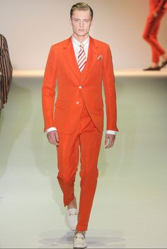 Gucci :: Men :: Spring :: Summer 2014 Fashion :: Orange Silk Suit #apparel