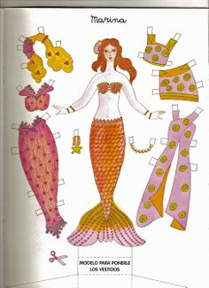 Marina a mermaid paper doll