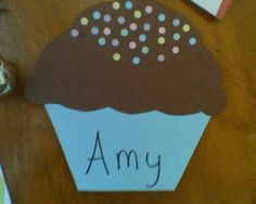 "Here's the cupcake door dec!  The ""sprinkles"" are just paper punched with a hole punch!  Super easy!"