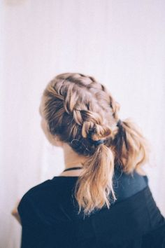Go for two braided pigtails that work well on short hair. | 31 Stunning No-Heat Hairstyles To Help You Through Summer