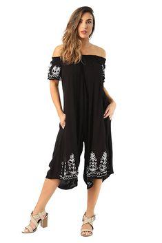 Riviera Sun Womens Off Shoulder Embroidered Jumpsuit Romper - Now Fashion Shop Desert Fashion, All Fashion, Boho Fashion, Womens Fashion, Rompers Women, Jumpsuits For Women, Plus Dresses, Summer Dresses, Top Clothing Brands