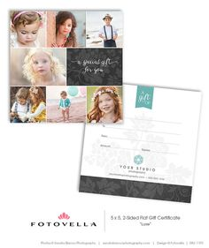 """Photographer gift certificate Photoshop template. """"Luxe"""" 5x5 card by FOTOVELLA. Featured images © Sandra Bianco Photography."""