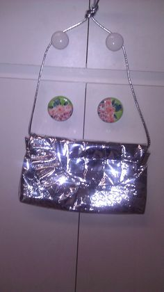 1980s Vintage Purse Silver Foil Patterned by Jillsjewelsfl on Etsy, $18.00