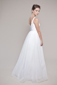 Tulle Wedding Dress:  Petals Scooped Tank and Layered Tulle Skirt. $2,300.00 USD, via Etsy.