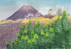 Minimax.cz - umělecký server pro všechny autory - HADINEC NA OSTROVĚ FOGO (KAPVERDY) Cape Verde, Volcanoes, Watercolor Landscape, Island, Statue, Mountains, Painters, Drawings, Plants
