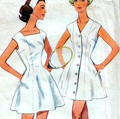 "Vintage 60s DRESS & SHORTS Sewing Pattern Bust 36"" Size 12 Retro TENNIS Princess"