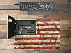 Rustic Red, White & Blue Distressed American Flag With Secret Compartment American Flag Painting, American Flag Pallet, American Flag Wall Art, Hidden Gun Storage, Wooden Flag, Tallit, Firearms, Handgun, Rustic Furniture