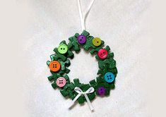 For Christmas, puzzle wreath ornament.