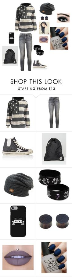 """""""American Reject"""" by punk-764 on Polyvore featuring Current/Elliott, Golden Goose, Converse, NOVICA, Jeffree Star, Max Factor and OPI"""