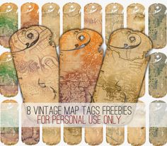 { FREEBIES } 8 VINTAGE MAP GIFT TAGS for your crafts projects!