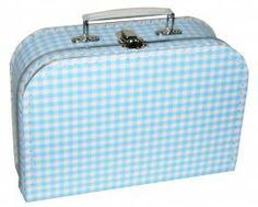 Koffertje met ruiten in blauw/wit 25 cm breed x 18 cm hoog x 9 cm diep