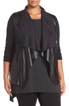 MICHAEL Michael Kors Faux Leather & Knit Drape Front Sweater (Plus Size)