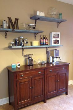Coffee bar with shelving.