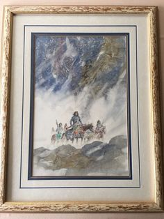 "Paul Kuo Original Watercolor Painting, American Indians, 14 1/2"" x 21"" (Image)"
