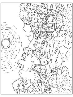 van-gogh-oliviers Famous paintings coloring pages