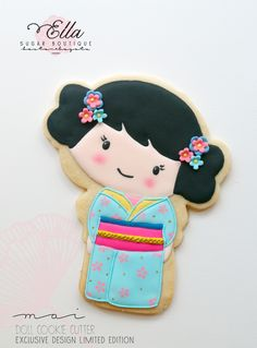 Japanese Kokeshi Doll, Mai, by One Cake a Day, posted on Cookie Connection