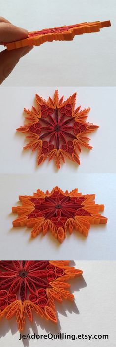 Snowflake Red Orange Fire Christmas Tree Decoration Winter Ornaments Gifts Toppers Fillers Office Corporate Paper Quilling Quilled Art