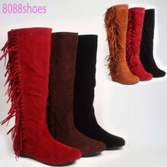 Women's Flat  Wedge Heel  Faux  Suede Fringe Round Toe Knee High Boot Shoes NEW #FashionKneeHigh