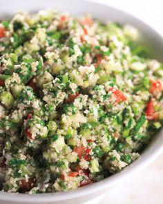 Tabbouleh--recipe uses bulgar wheat, but works wonderfully with Quinoa!