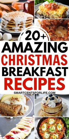 20+ Christmas breakfast recipes to enjoy on Christmas morning! Whether you are looking for some Christmas breakfast ideas for Christmas morning, Christmas Eve or any other day, there are plenty of amazing breakfast and brunch ideas to choose from! You can make ahead or cook overnight these breakfast recipes to enjoy these Holiday season  #Christmas #Breakfast #Christmasday #Christmasrecipes #Holidays