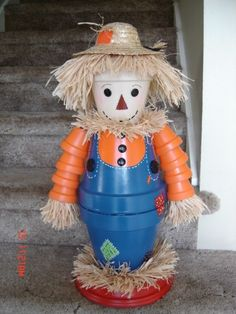 Homemade Clay Pots Scarecrow Crafts for Kids - 2015 Thanksgiving Decor,