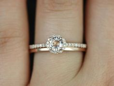 Rose gold round diamond solitaire halo engagement ring. | Halo Engagement Rings for a Sparkling New Year