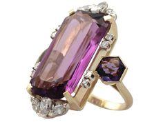21.82Ct Amethyst & 1.59Ct Diamond, 18k Yellow Gold Dress Ring - Vintage 4