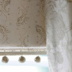 Pom Pom Trim from Kate Forman. A fun trim with hanging fluffy pom-poms in a natural beige. Suitable for drapery and cushions. Fabric Blinds, Curtains With Blinds, Curtain Fabric, Linen Fabric, House Blinds, Blinds For Windows, Cottage Blinds, Kate Forman, Bathroom Window Treatments