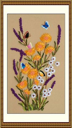 Ribbon Embroidery Fashion Print Cross Stitch Kit Needlework 75X42cm butterfly