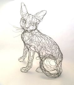 Wire Sculpture Cat: 15in Wire Art 3D Kitty by Elizabeth Berrien, internationally acclaimed wire sculptor
