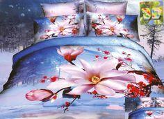 Miękka niebieska pościel bawełniana w różowe kwiaty Bedding Sets, Comforters, Blankets, Bedroom Ideas, Home, Future, Comforter Sets, Yurts, Creature Comforts