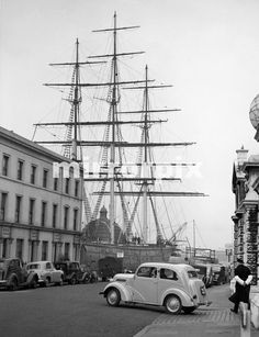 The Cutty Sark in her dry dock at Greenwich. Preparations for her to become a 'maritime museum' were nearly ready, and she opened to the public later that summer. 12th March 1957