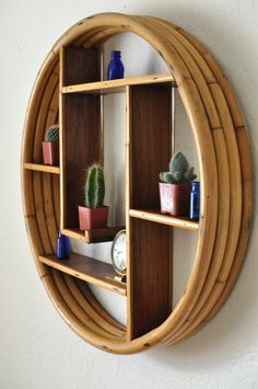 SOLD SOLD SOLD 1940s Rattan Round Tiki Shelf 4 Band 5 by EuroFair