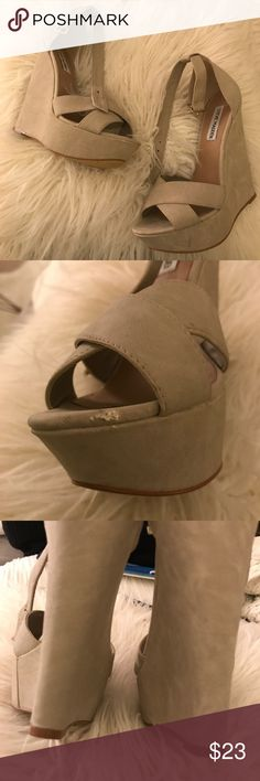 Steve Madden Nude Wedges Worn once to a wedding for a few hours! Only sign of wear is in photo 2! Need these out of my closet! Steve Madden Shoes Wedges