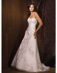 Brilliant Satin/Organza Sweetheart Empire Wedding Dresses With Embroidered