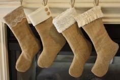Set of 4 Burlap Stockings, Christmas Burlap Stockings. $100.00, via Etsy.