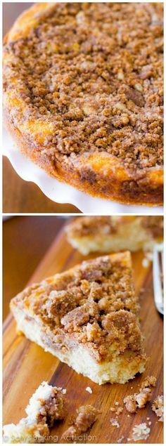 A soft, tender, easy-to-make coffee cake, heavy on the crumbs! A breakfast favorite. | sallysbakingaddiction.com