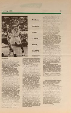 """Ohio University Today, Spring 1994. """"Trent and company return 'Cats to top of the MAC."""" Gary Trent, often called """"The Shaq of The MAC"""", helped lead the Ohio University Men's basketball team to a 25-8 season in 1994, which included the MAC regular-season title. Trent went on to the NBA after being drafted in 1995 by the Milwaukee Bucks. He played for the Portland Trail Blazers, Toronto Raptors, Dallas Mavericks and Minnesota Timberwolves before retiring in 2007. :: Ohio University Archives"""