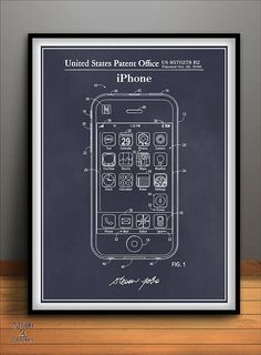 iPhone Patent Print, Apple iPhone, Apple Computer Art, Computer Patent, Apple Poster, Free Shipping in USA!  The perfect gift for the hard to buy for collector or the centerpiece for your Home, Garage or Man Cave. This Steve Jobs Apple iPhone Patent Poster measures 18 X 24 Unframed - (including a white border) and is printed on 45lb. archival safe, fine art paper. Available in 5 colors please make your selection in the drop down at the top of the page.(The use of new archival technologies…
