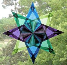 4 Color Waldorf Window Star in Purple Blue door harvestmoonbyhand, $11.00