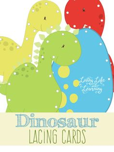 Fun fine motor practice with these cute dinosaur lacing cards